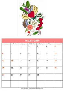 Blank October Calendar Template Printable Floral Vector