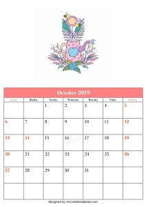 Blank October Calendar Template Printable Vector