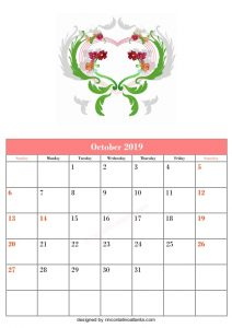 Blank October Calendar Template Printable Vector Floral Green