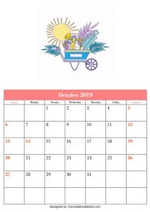 Blank October Calendar Template Printable Vector Sun in the carriage