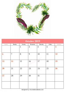 Blank October Calendar Template Printable Wreaths Vector