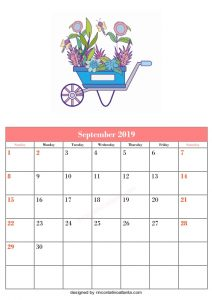 Blank September Calendar Template Printable Flower Cart Vector