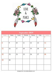 Blank September Calendar Template Printable Love and Peace Vector