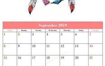 Blank September Calendar Template Printable Love and Peace Vector