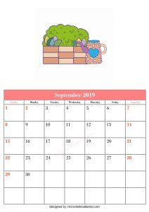 Blank September Calendar Template Printable Tree and Kitchen Vector