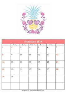 Blank September Calendar Template Printable flowers and love Vector