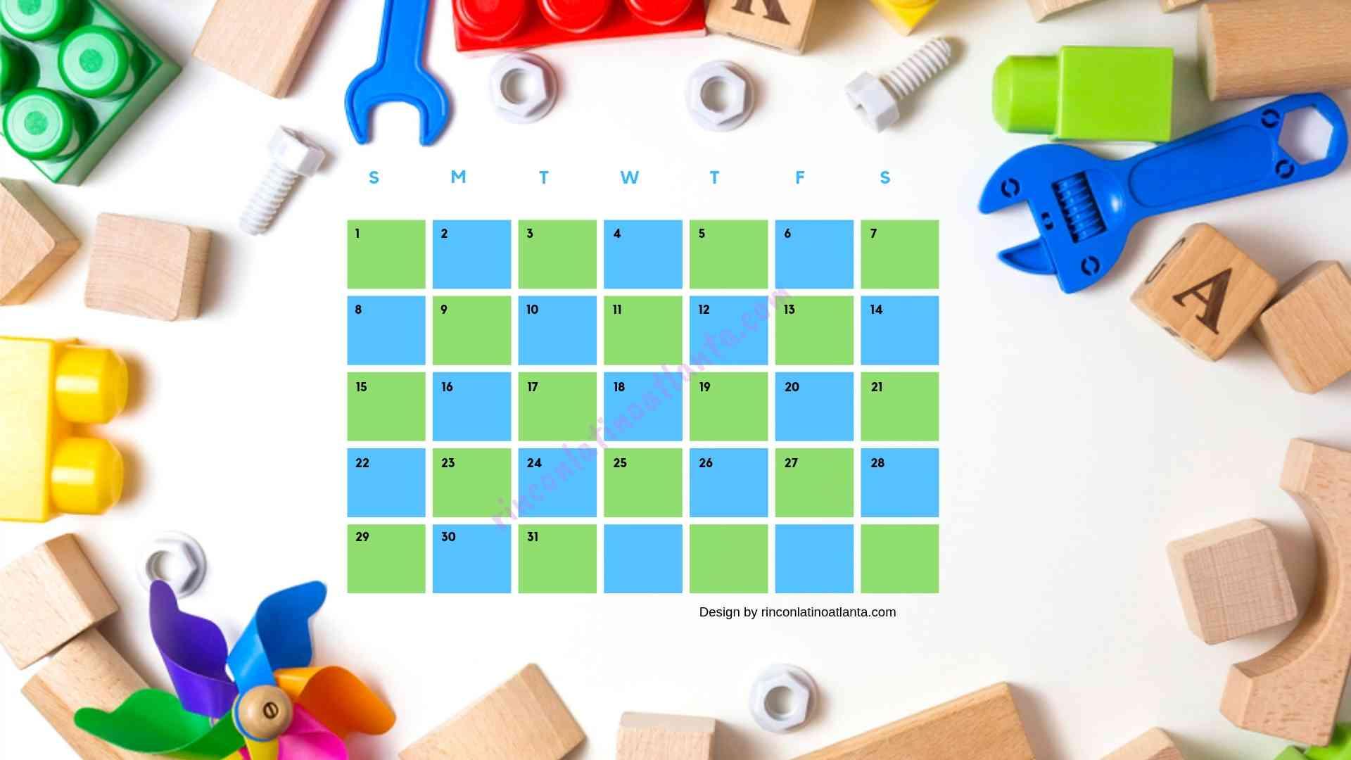 Five Kindergarten Countdown Calendar With Toys Background