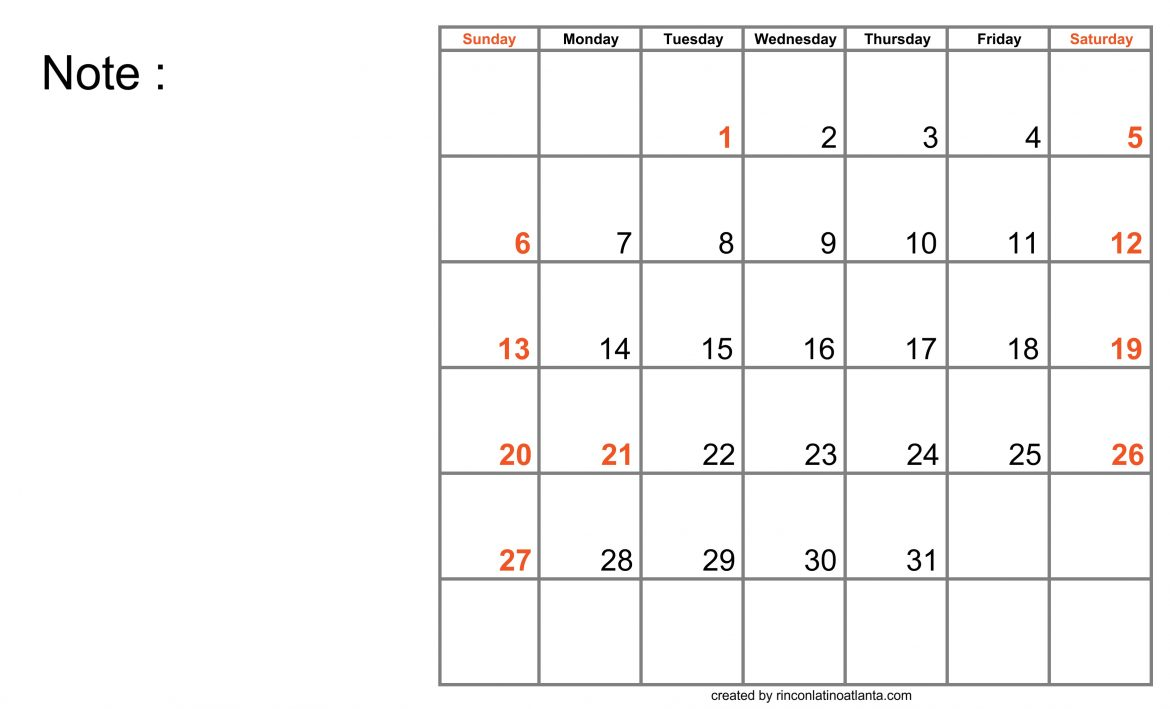 Blank Calendar for Good Work Planning for a Successful Future