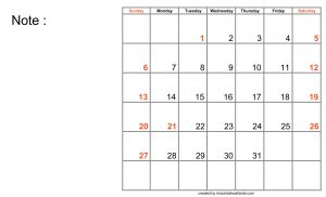 Blank Calendar for Good Work Planning