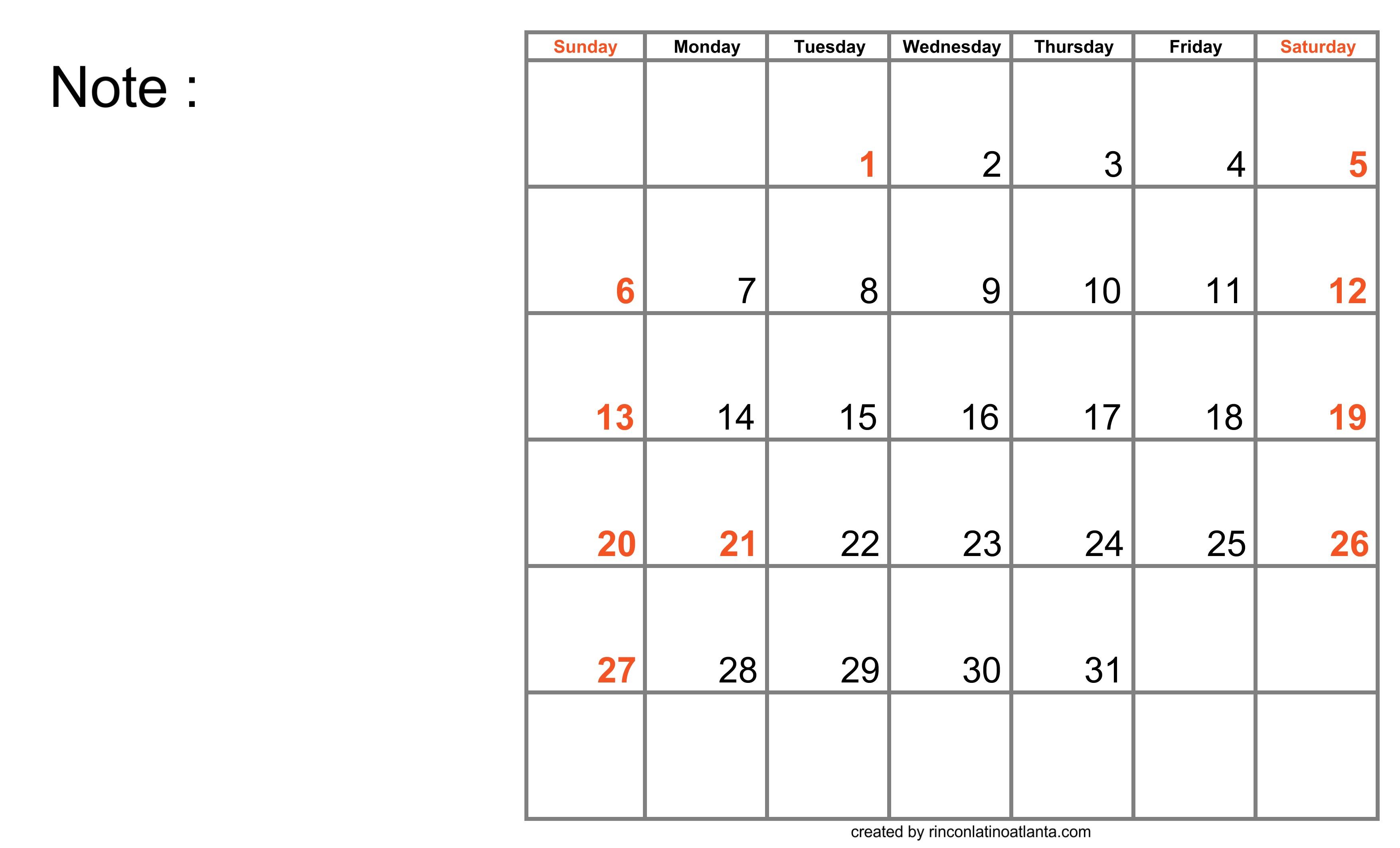 Blank Calendar for Good Work Planning
