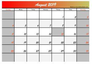 2019 august calendar