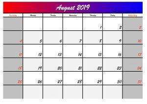 2019 august calendar blank calendar printable