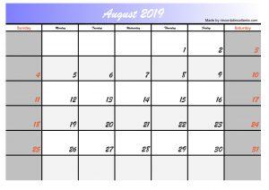 2019 august calendar printable free