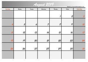 2019 august calendar simple printable design