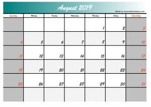 2019 august calendar template