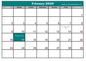 Blue Header Template February 2020 Calendar Printable Free