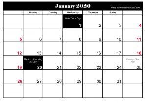 January 2020 Calendar Printable Holidays
