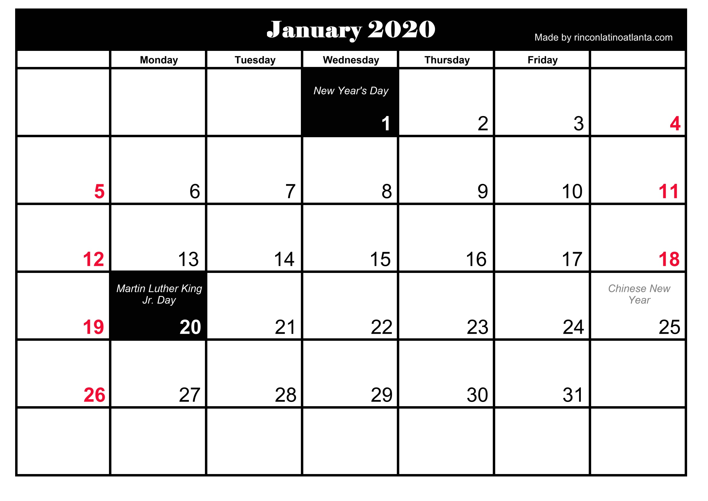 graphic about Free Printable 2020 Calendar With Holidays known as Free of charge 5 Printable January 2020 Calendar Calendar Template