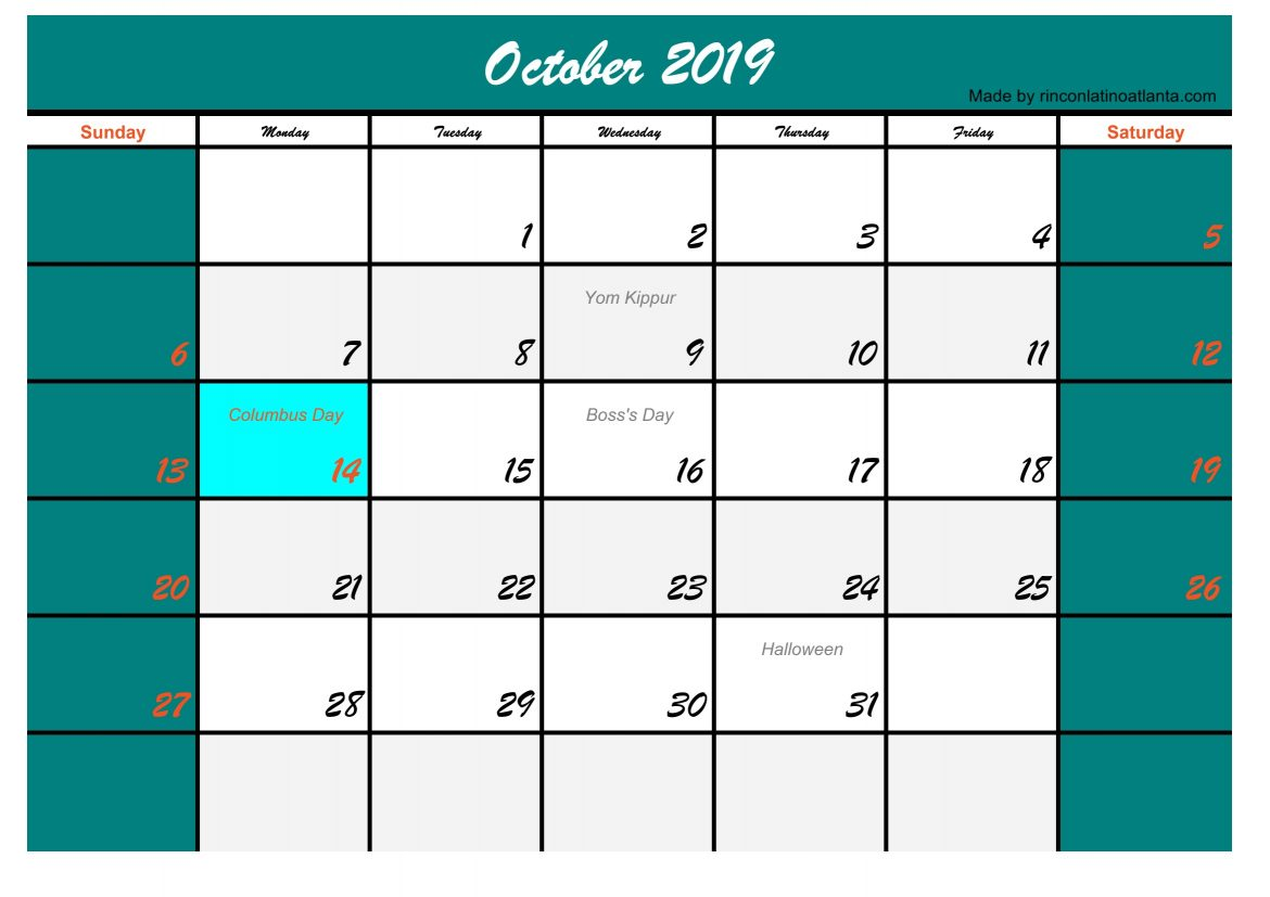 Five October 2019 Calendar with Holidays USA