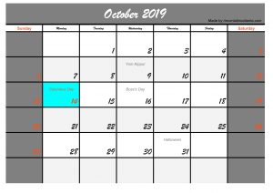October 2019 Calendar with Holidays USA Printable
