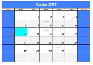 October 2019 Calendar with Holidays USA Printable Template