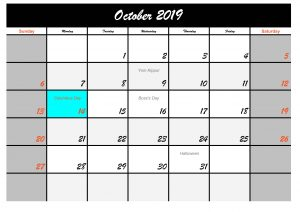 October 2019 Calendar with Holidays USA Public Printable