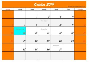 October 2019 Calendar with Holidays USA Template