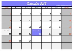 Printable December 2019 Calendar Blue Header