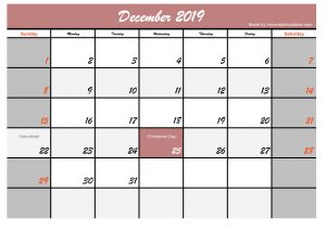 Printable December 2019 Calendar Holidays