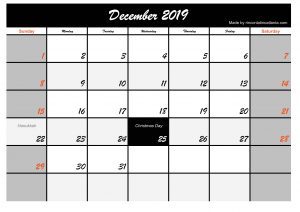 Printable December 2019 Calendar Template Black Header