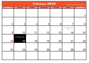 Printable Frebruary 2020 Calendar With Holidays