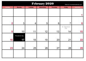 Printable Frebruary 2020 Calendar With Holidays Blank