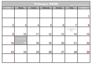 Printable Frebruary 2020 Calendar With Holidays Blank Simple