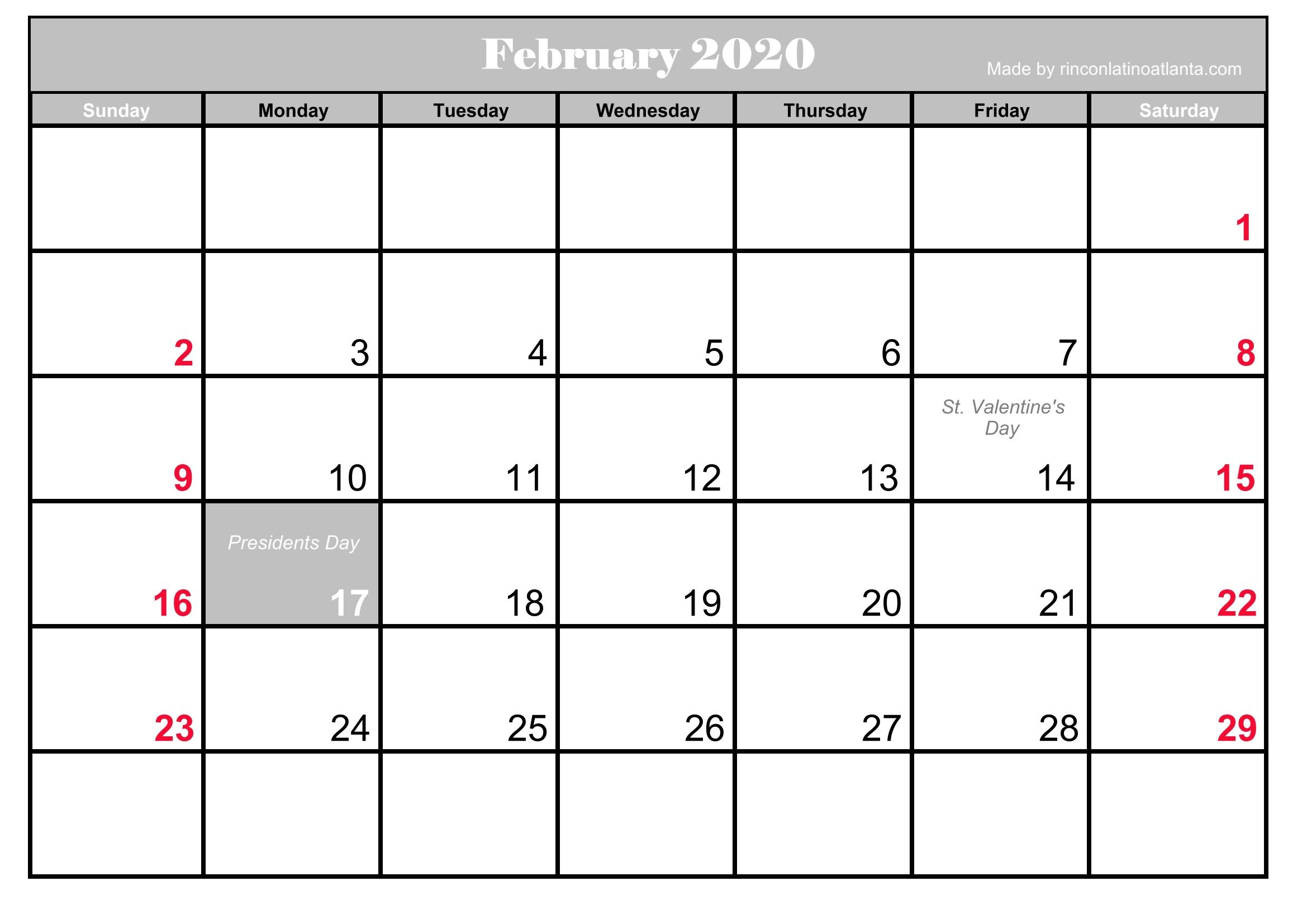Presidents Day 2020 Calendar.Printable Frebruary 2020 Calendar With Holidays Calendar Template