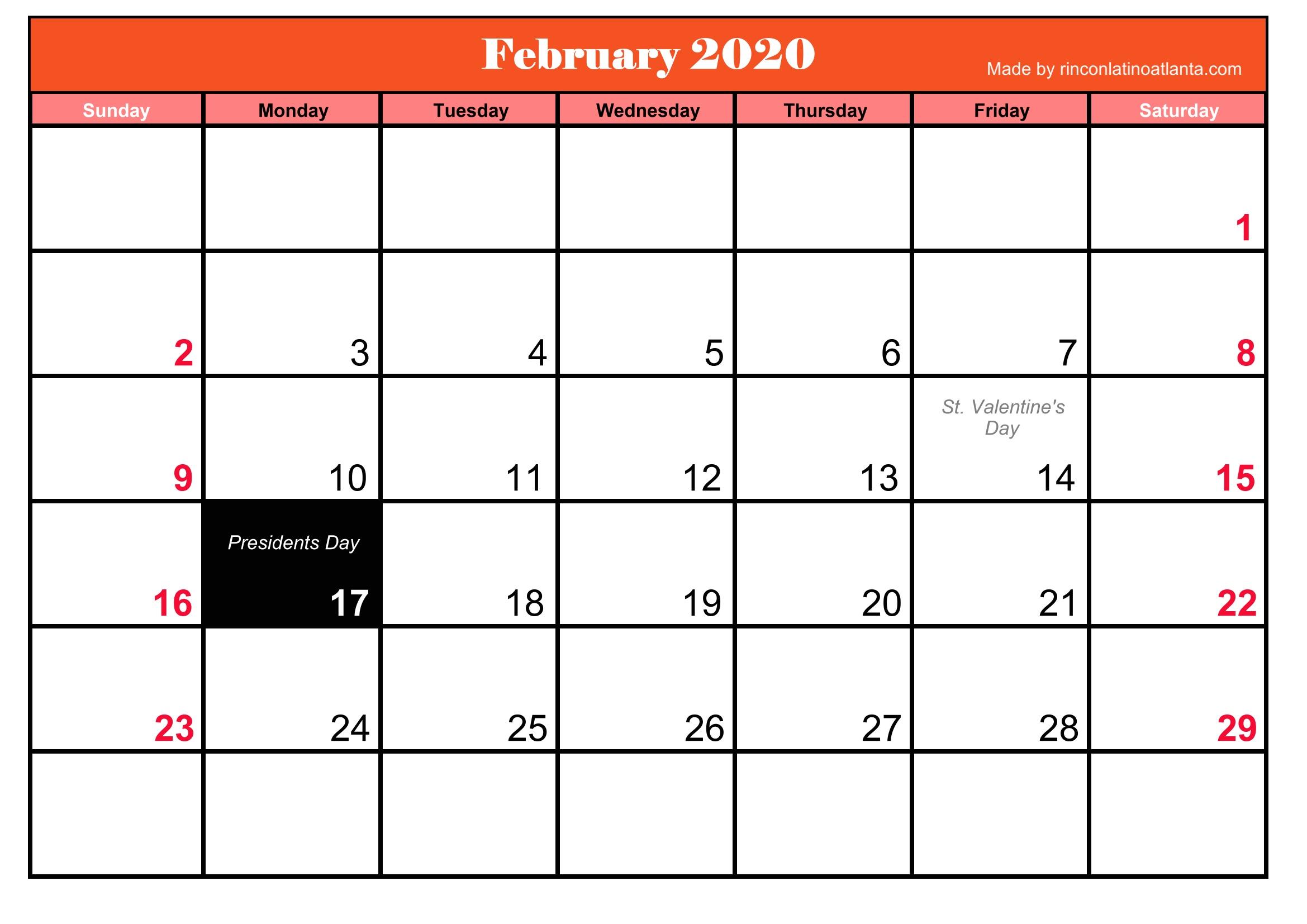 February 2020 Calendar Free Food Printable Frebruary 2020 Calendar With Holidays | Calendar