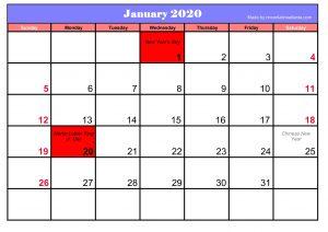 Printable January 2020 Calendar Blank