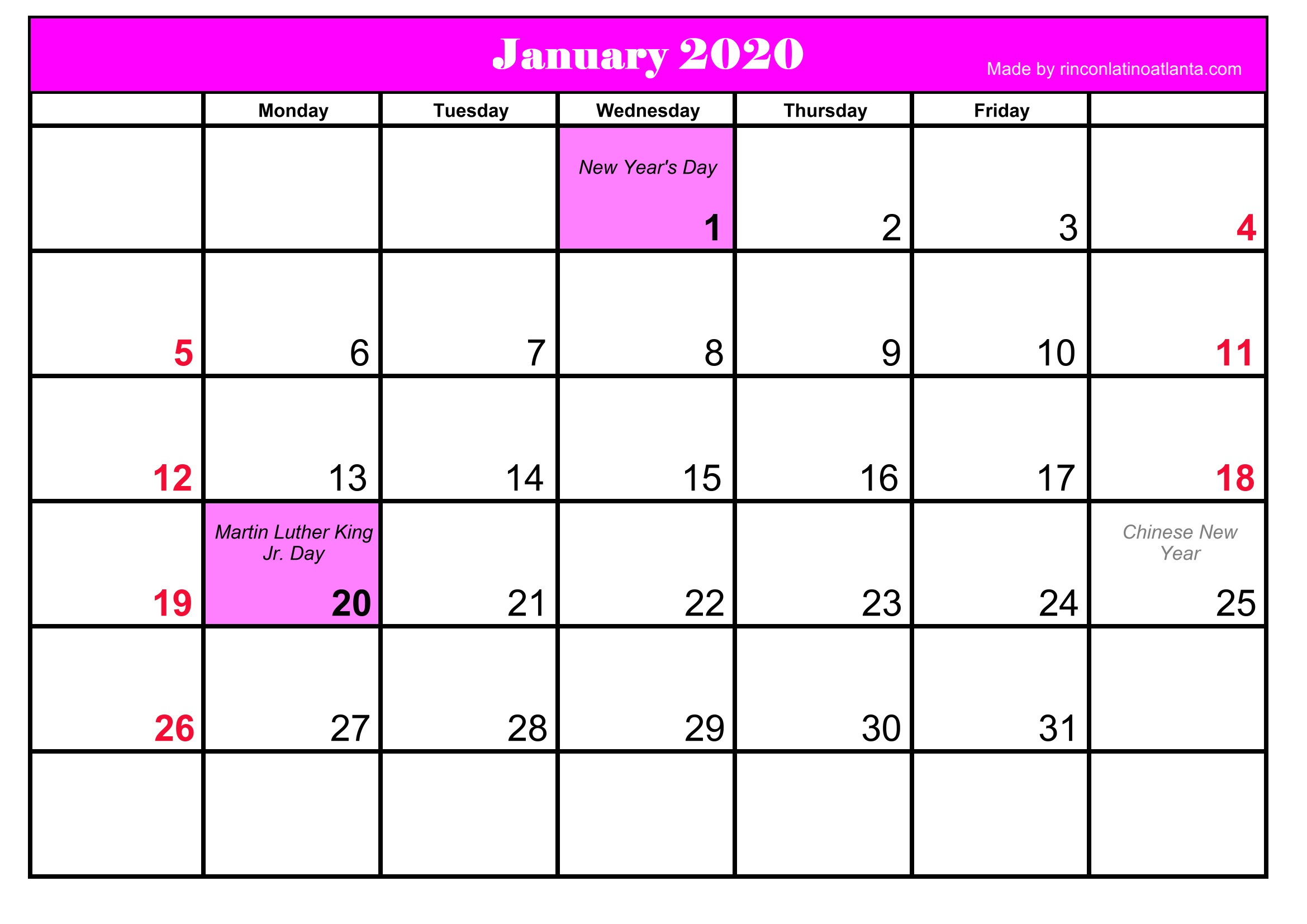 Printable January 2020 Calendar Template With Holidays