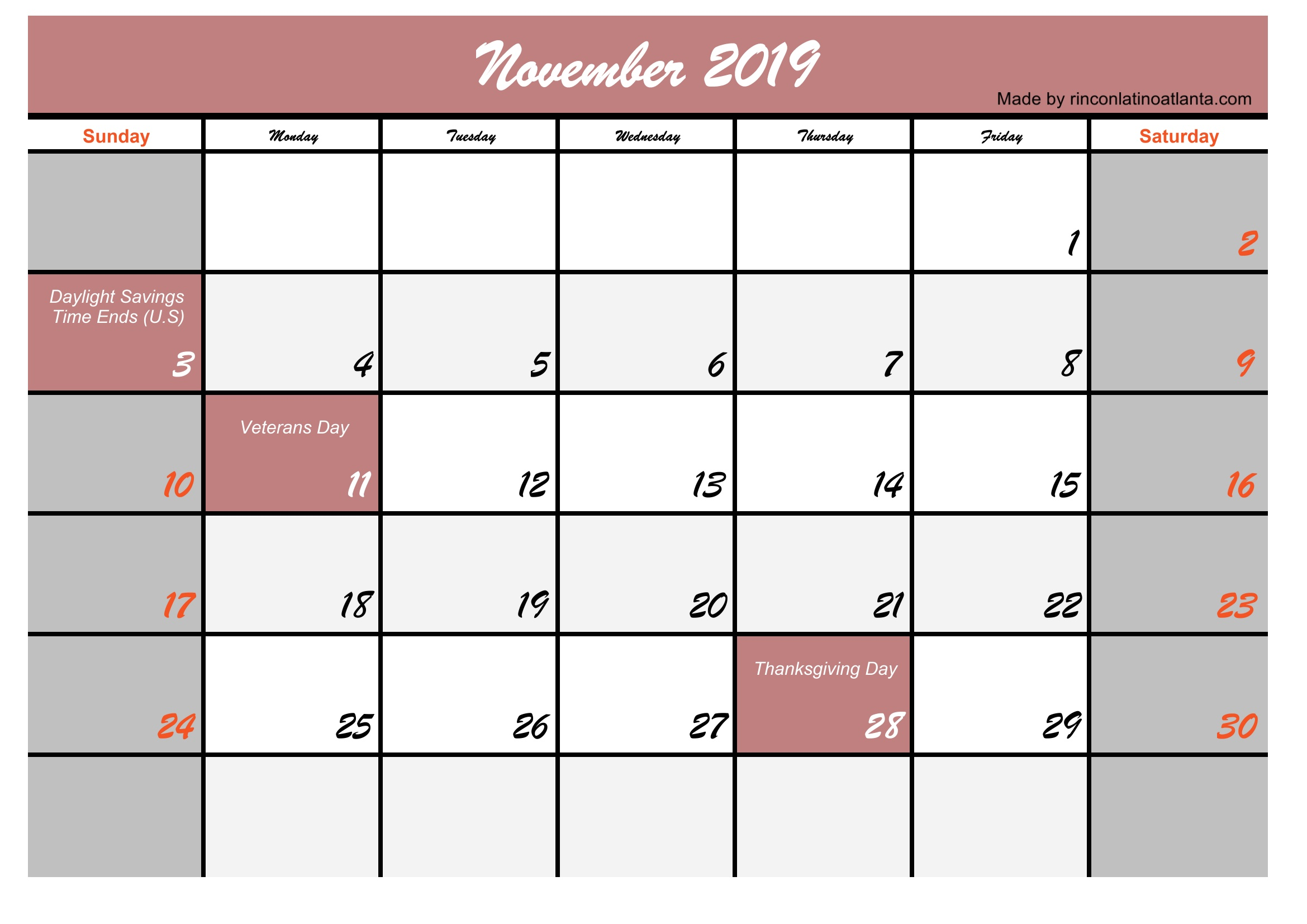 Template November 2019 Calendar USA Holidays