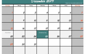 Template Printable December 2019 Calendar