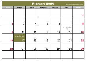 Template Printable February 2020 Calendar Free