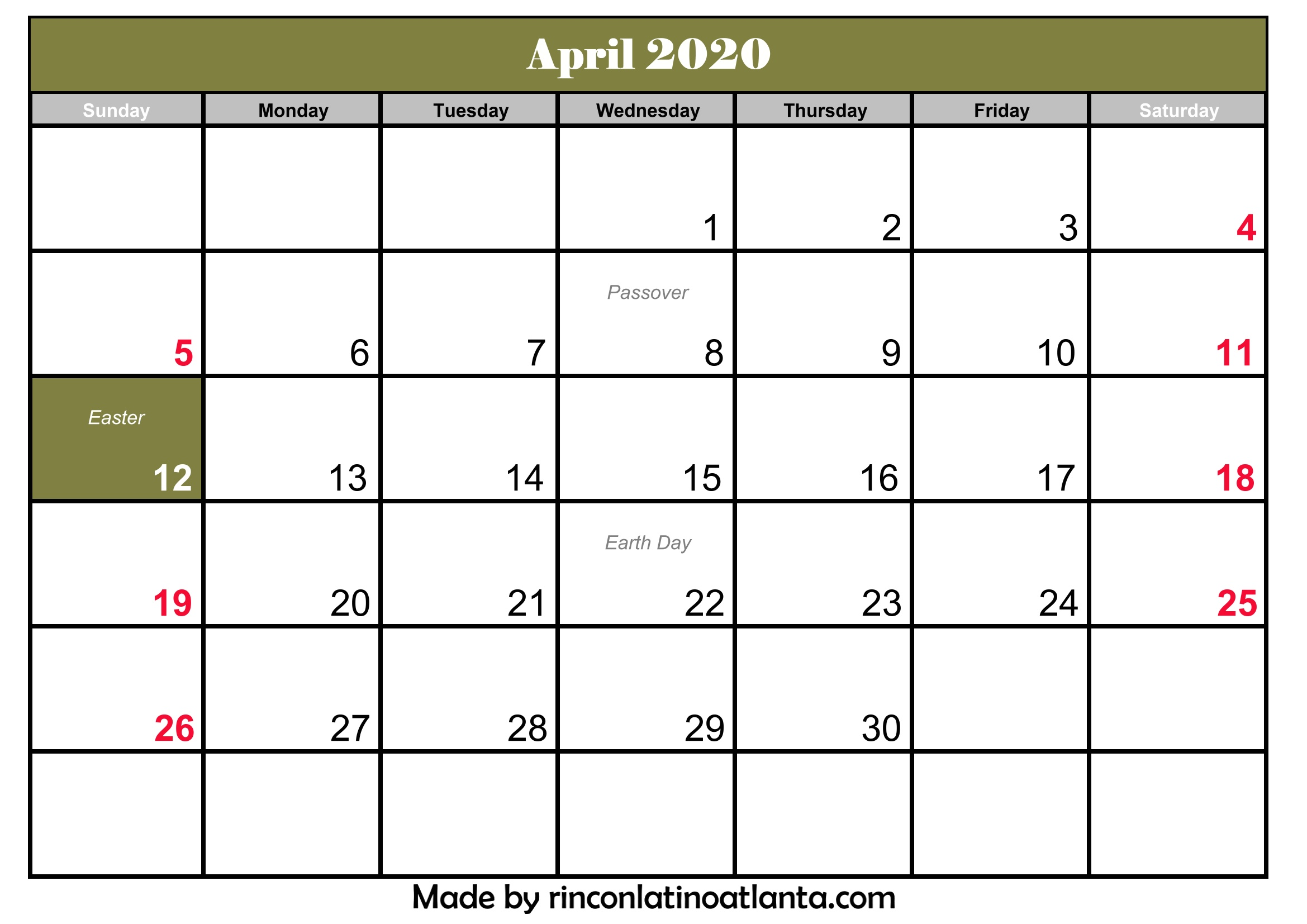 image about Printable April identify Printable April 2020 Calendar With Holiday seasons Calendar