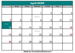 april 2020 calendar canada printable