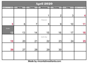 april 2020 calendar template editable