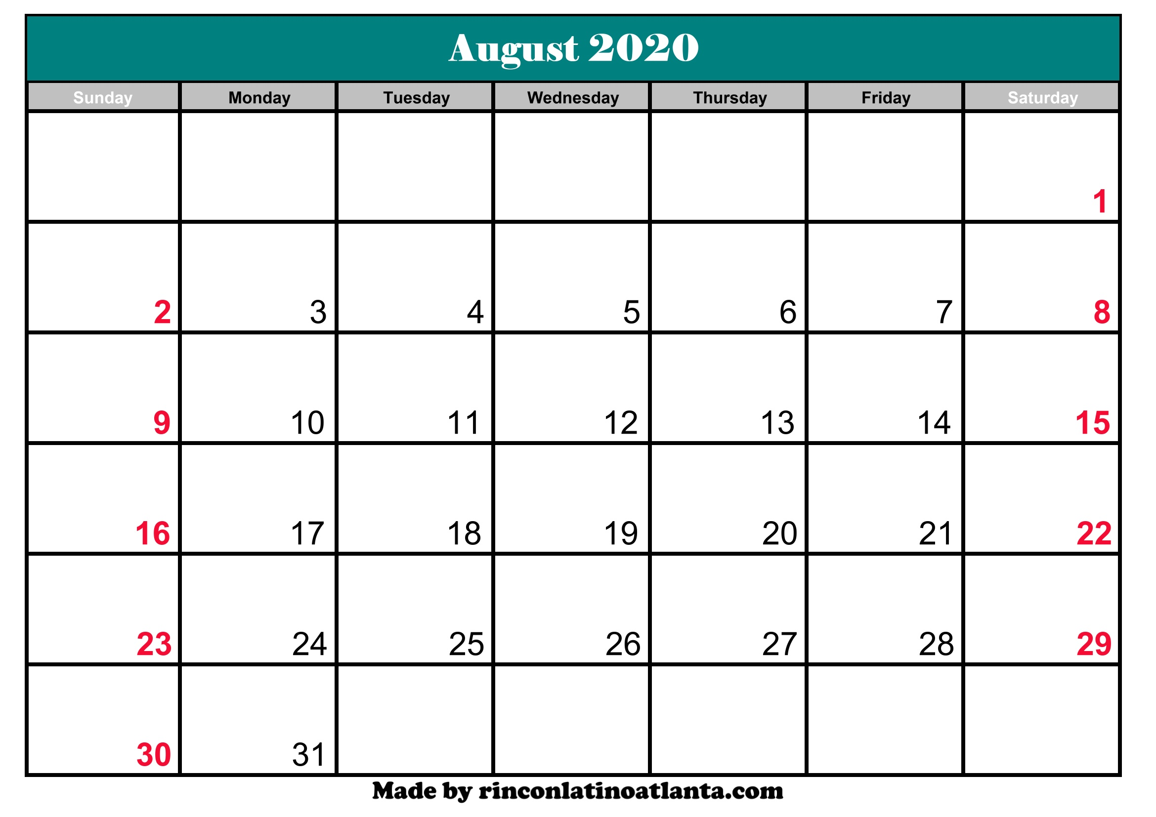 Calendar August 2020 Printable.August 2020 Calendar Template Printable Editable Calendar Template