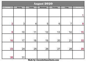 august 2020 calendar to print