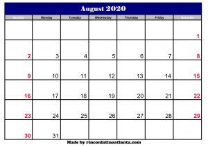 august 2020 calendar uk