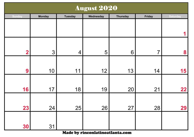 August 2020 Calendar Template Printable Editable