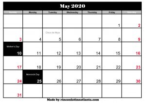 black may 2020 calendar with holidays