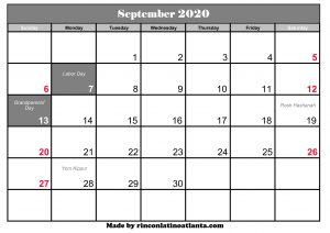 blank calendar september 2020 grey header template printable
