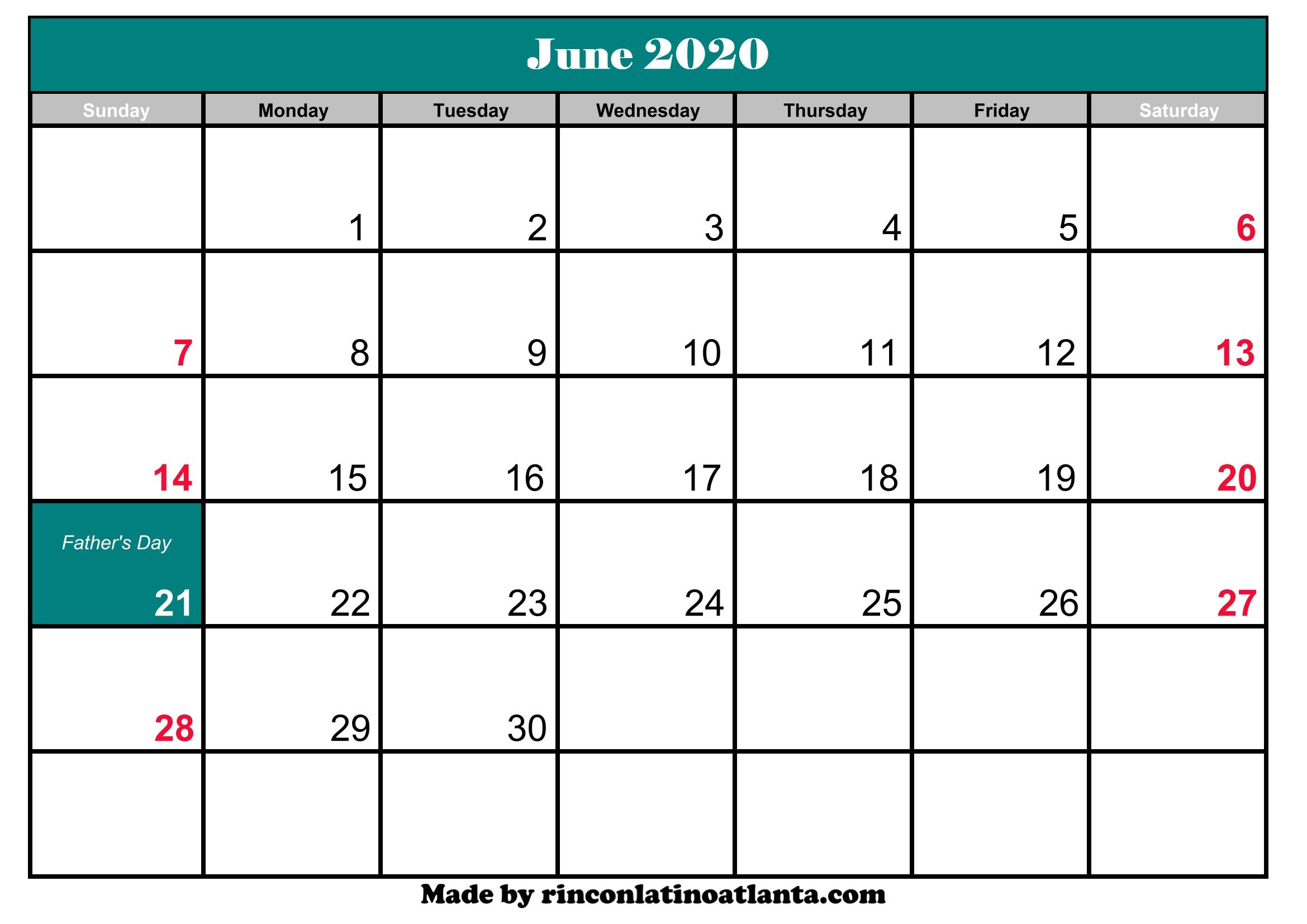 June Calendar 2020 With Holidays June 2020 Calendar Printable With Holidays | Calendar Template